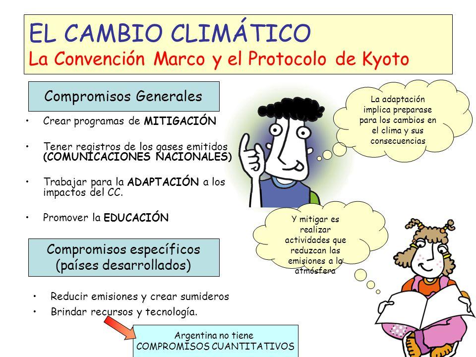 EL CAMBIO CLIMÁTICO La Convención del Cambio Climático y el Protocolo de Kyoto Muchos países se pusieron de acuerdo para bajar las emisiones de gases y trabajar juntos para evitar el Cambio Climático: Se establecieron responsabilidades comunes pero diferenciadas Países Desarrollados Países en desarrollo