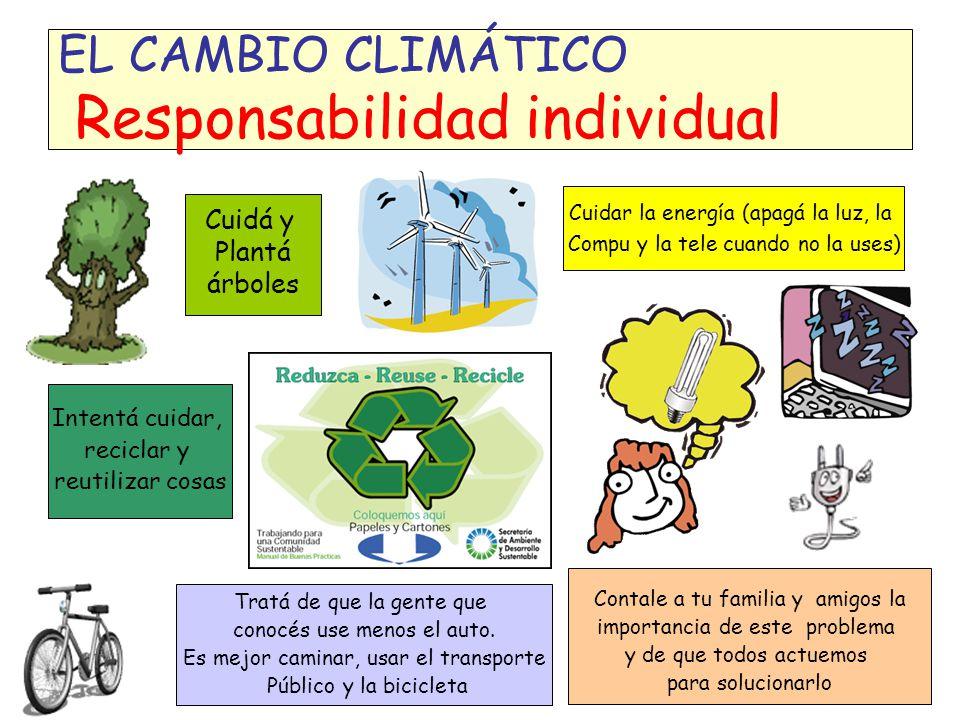 EL CAMBIO CLIMÁTICO La Convención Marco y el Protocolo de Kyoto Compromisos Generales Compromisos específicos (países desarrollados) La adaptación implica preparase para los cambios en el clima y sus consecuencias Crear programas de MITIGACIÓN Tener registros de los gases emitidos (COMUNICACIONES NACIONALES) Trabajar para la ADAPTACIÓN a los impactos del CC.