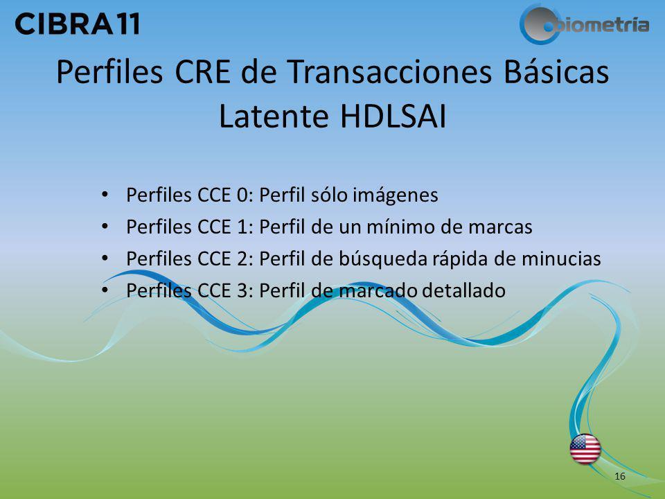 Perfiles CRE de Transacciones Básicas Latente HDLSAI Perfiles CCE 0: Perfil sólo imágenes Perfiles CCE 1: Perfil de un mínimo de marcas Perfiles CCE 2