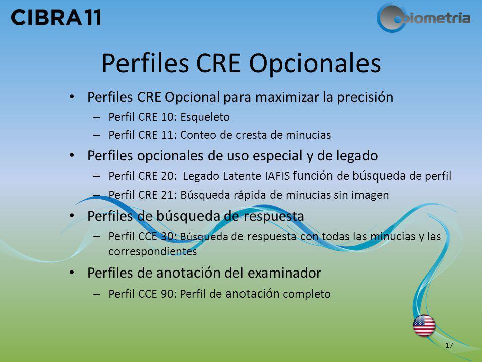 Perfiles CRE Opcionales Perfiles CRE Opcional para maximizar la precisión – Perfil CRE 10: Esqueleto – Perfil CRE 11: Conteo de cresta de minucias Per