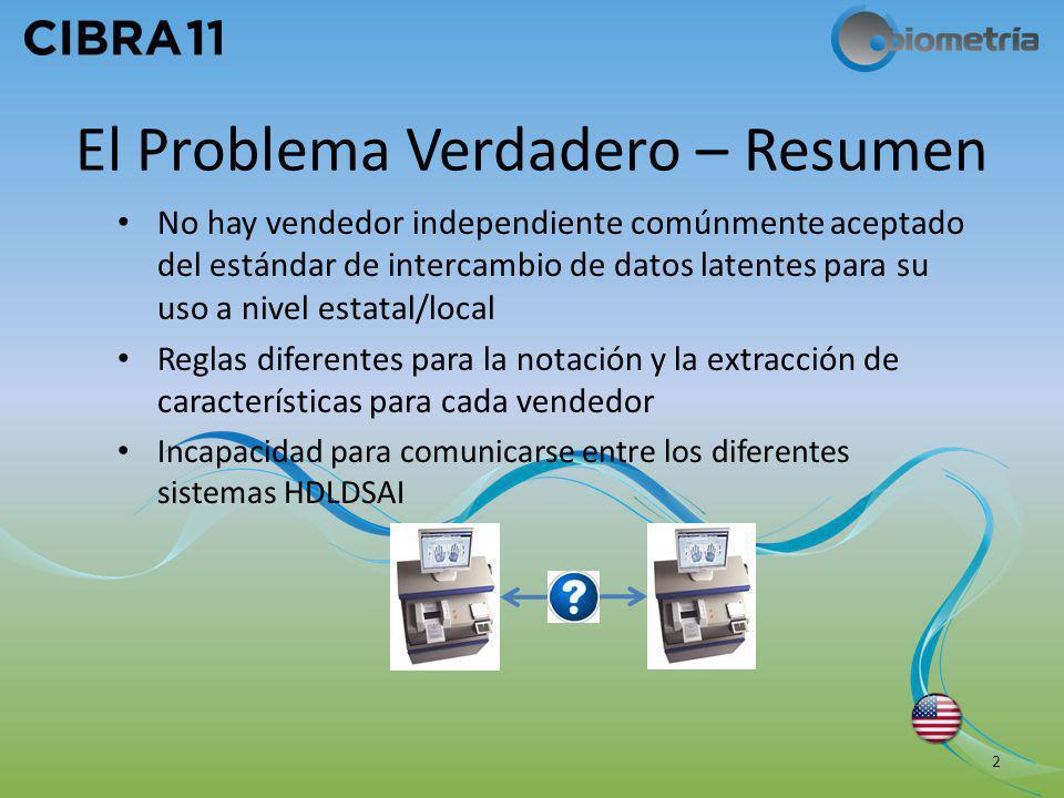 El Problema Verdadero – Resumen No hay vendedor independiente comúnmente aceptado del estándar de intercambio de datos latentes para su uso a nivel es