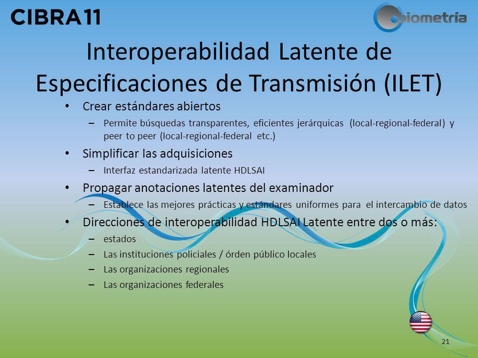 Interoperabilidad Latente de Especificaciones de Transmisión (ILET) Crear estándares abiertos – Permite búsquedas transparentes, eficientes jerárquica