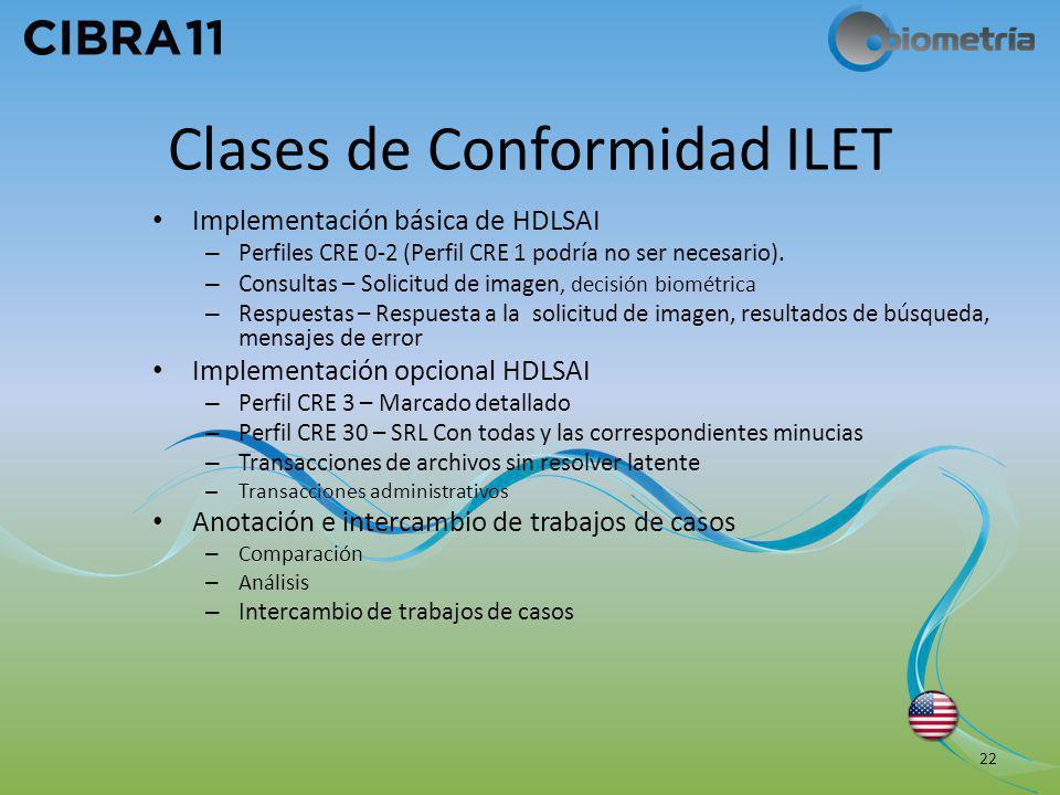 Clases de Conformidad ILET Implementación básica de HDLSAI – Perfiles CRE 0-2 (Perfil CRE 1 podría no ser necesario). – Consultas – Solicitud de image