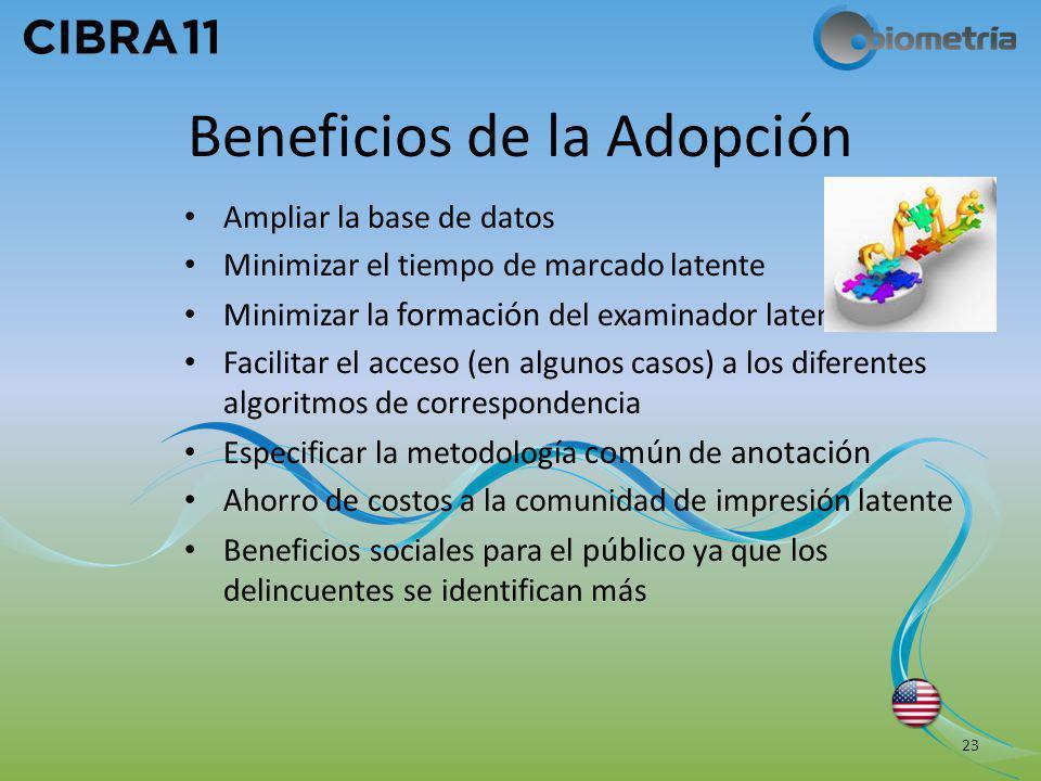 Beneficios de la Adopción Ampliar la base de datos Minimizar el tiempo de marcado latente Minimizar la formación del examinador latente Facilitar el a