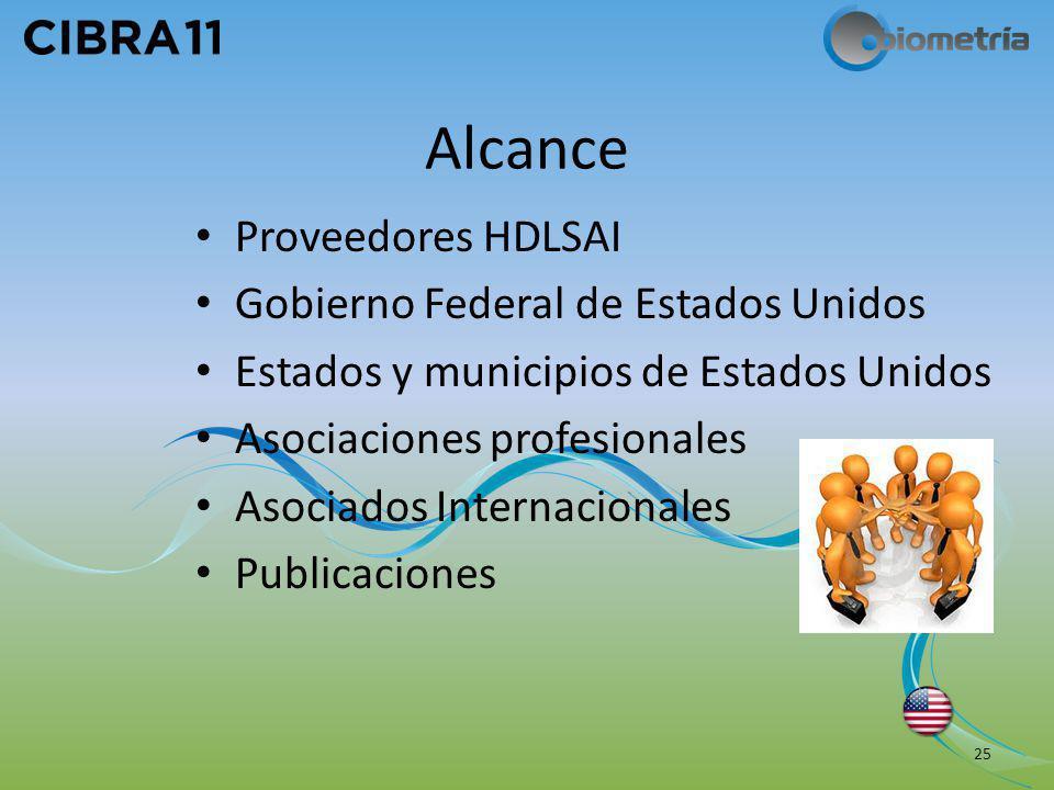 Alcance Proveedores HDLSAI Gobierno Federal de Estados Unidos Estados y municipios de Estados Unidos Asociaciones profesionales Asociados Internaciona