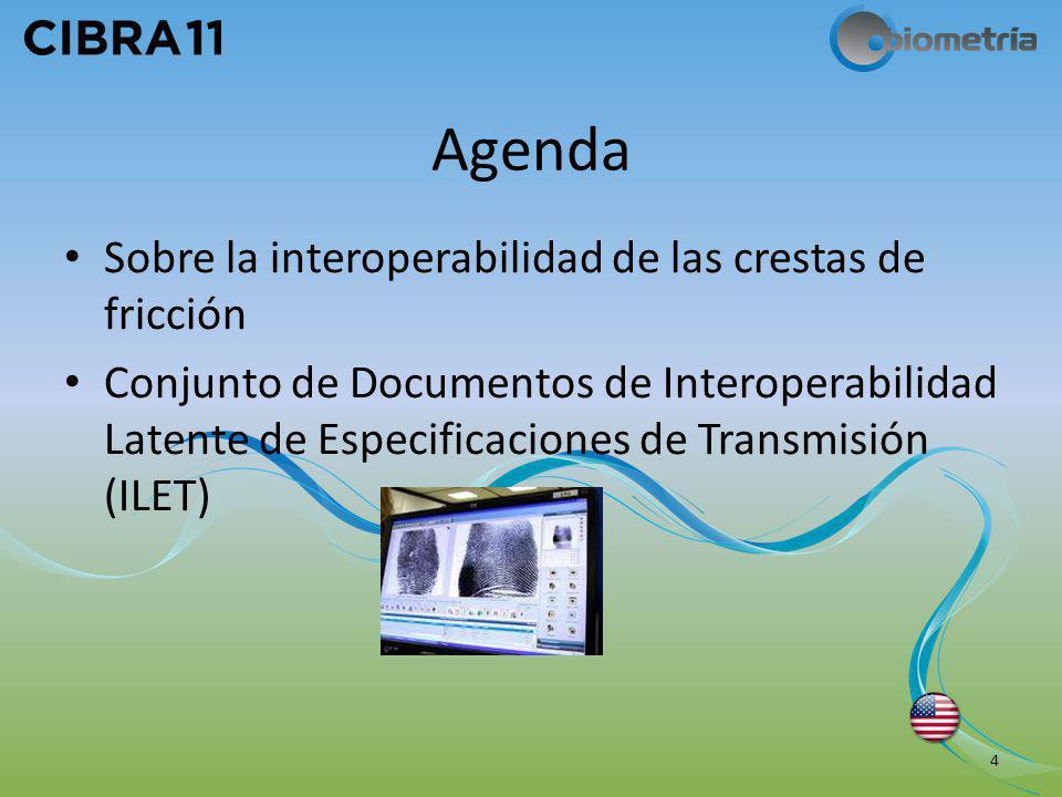 Agenda Sobre la interoperabilidad de las crestas de fricción Conjunto de Documentos de Interoperabilidad Latente de Especificaciones de Transmisión (I