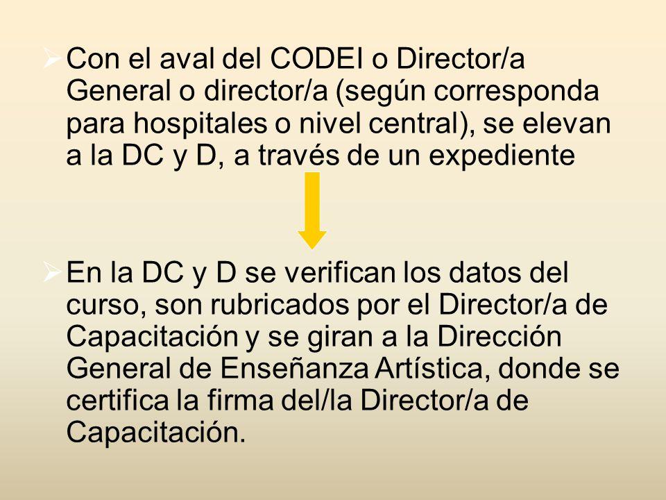 Con el aval del CODEI o Director/a General o director/a (según corresponda para hospitales o nivel central), se elevan a la DC y D, a través de un expediente En la DC y D se verifican los datos del curso, son rubricados por el Director/a de Capacitación y se giran a la Dirección General de Enseñanza Artística, donde se certifica la firma del/la Director/a de Capacitación.