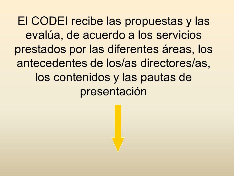 El CODEI recibe las propuestas y las evalúa, de acuerdo a los servicios prestados por las diferentes áreas, los antecedentes de los/as directores/as, los contenidos y las pautas de presentación
