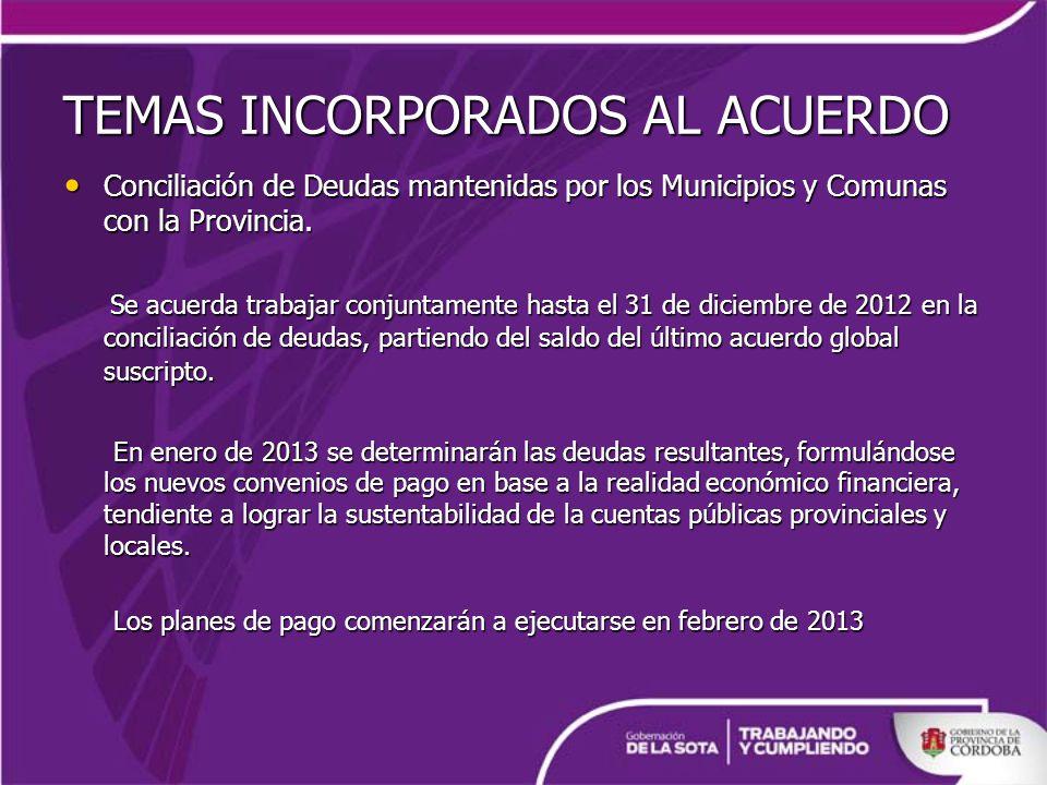 TEMAS INCORPORADOS AL ACUERDO Conciliación de Deudas mantenidas por los Municipios y Comunas con la Provincia.