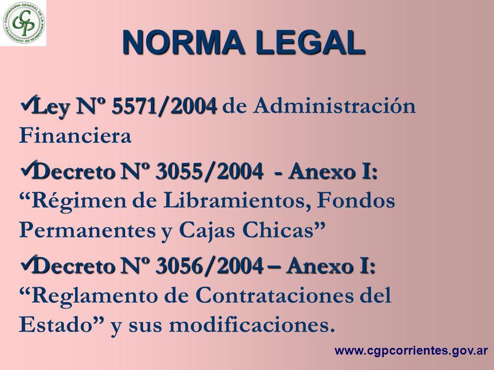 NORMA LEGAL Ley Nº 5571/2004 Ley Nº 5571/2004 de Administración Financiera Decreto Nº 3055/2004 - Anexo I: Decreto Nº 3055/2004 - Anexo I: Régimen de
