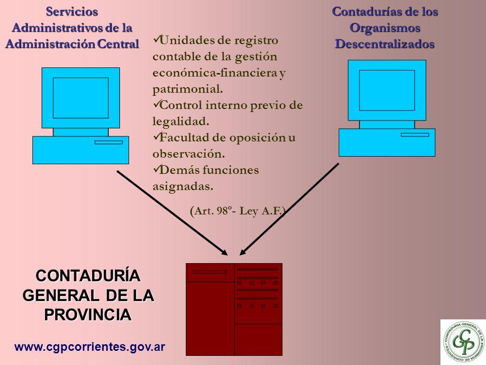 Servicios Administrativos de la Administración Central Contadurías de los Organismos Descentralizados Unidades de registro contable de la gestión econ