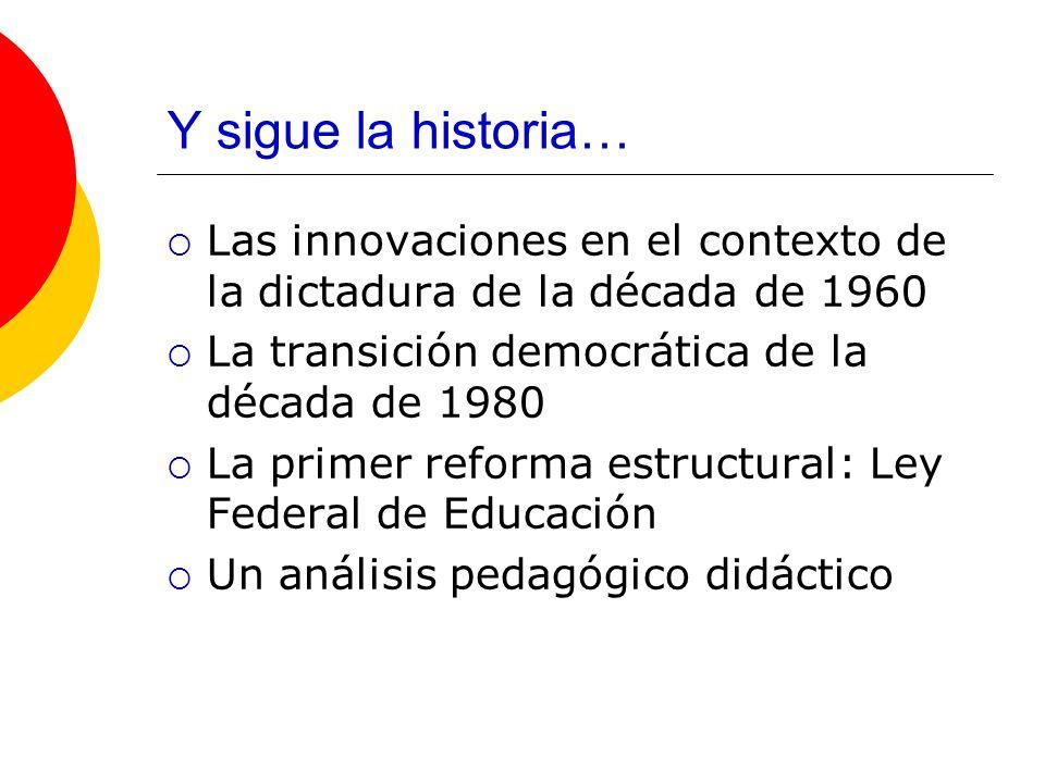 Y sigue la historia… Las innovaciones en el contexto de la dictadura de la década de 1960 La transición democrática de la década de 1980 La primer reforma estructural: Ley Federal de Educación Un análisis pedagógico didáctico