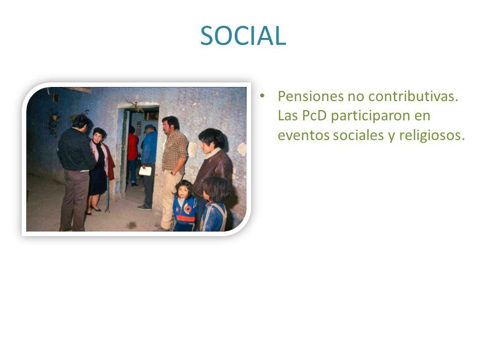 SOCIAL Pensiones no contributivas. Las PcD participaron en eventos sociales y religiosos.