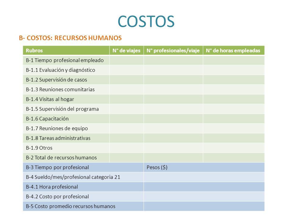 RubrosN° de viajesN° profesionales/viajeN° de horas empleadas B-1 Tiempo profesional empleado B-1.1 Evaluación y diagnóstico B-1.2 Supervisión de caso
