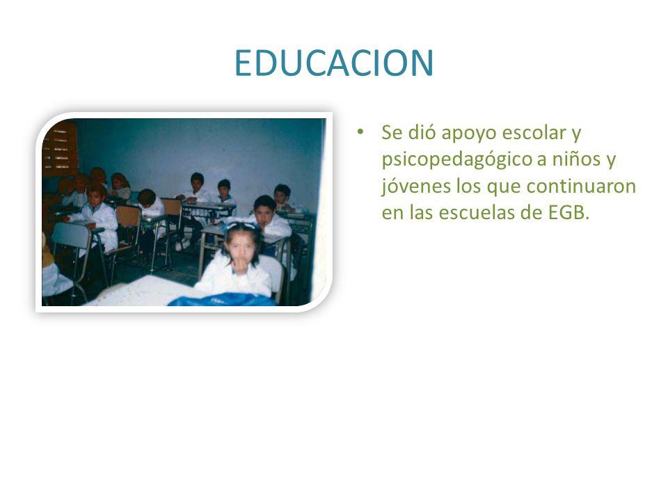 EDUCACION Se dió apoyo escolar y psicopedagógico a niños y jóvenes los que continuaron en las escuelas de EGB.