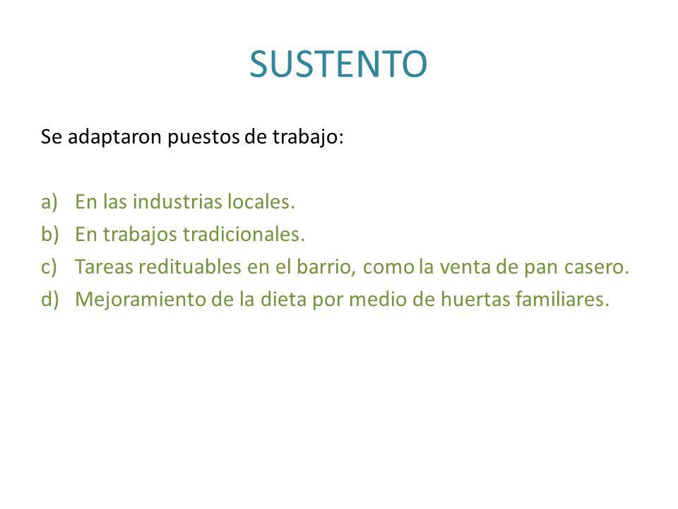 SUSTENTO Se adaptaron puestos de trabajo: a)En las industrias locales. b)En trabajos tradicionales. c)Tareas redituables en el barrio, como la venta d