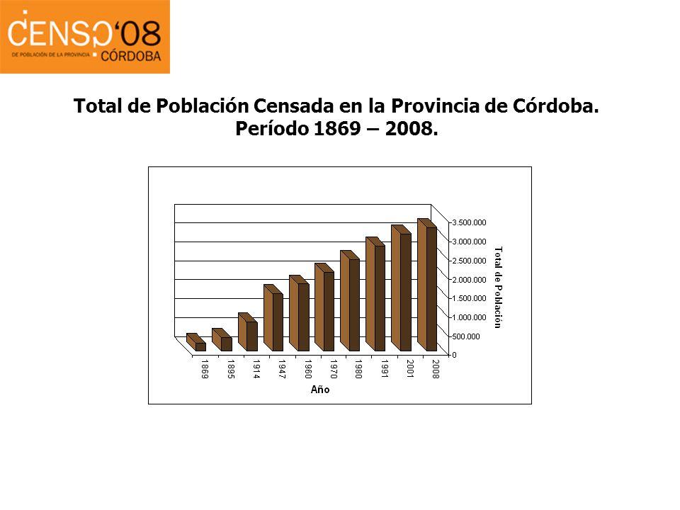 Total de Población Censada en la Provincia de Córdoba. Período 1869 – 2008.