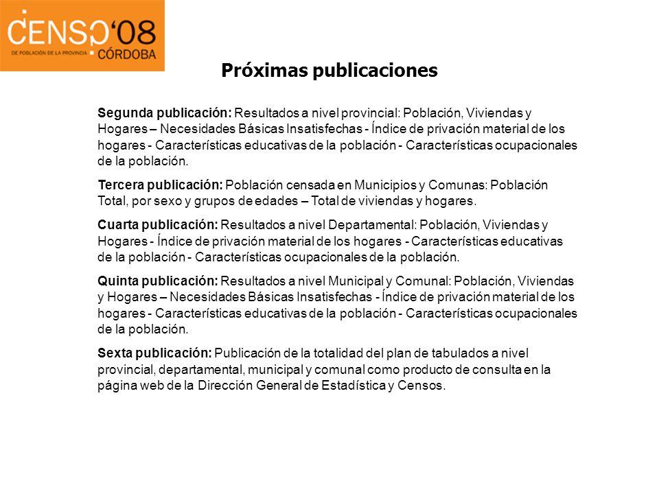 Próximas publicaciones Segunda publicación: Resultados a nivel provincial: Población, Viviendas y Hogares – Necesidades Básicas Insatisfechas - Índice