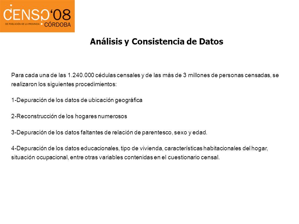 Análisis y Consistencia de Datos Para cada una de las 1.240.000 cédulas censales y de las más de 3 millones de personas censadas, se realizaron los si