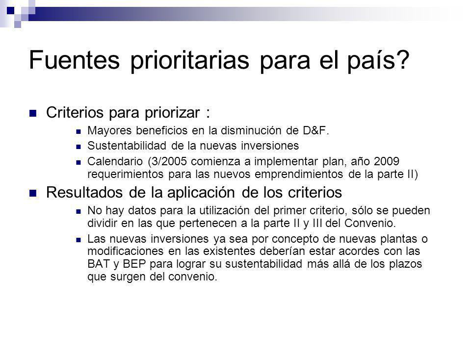 Fuentes prioritarias para el país? Criterios para priorizar : Mayores beneficios en la disminución de D&F. Sustentabilidad de la nuevas inversiones Ca