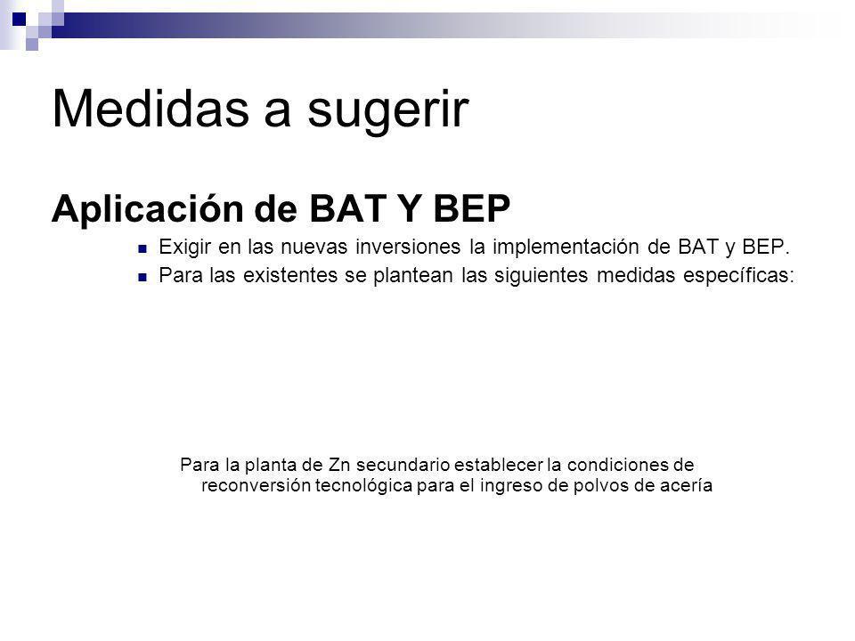 Medidas a sugerir Aplicación de BAT Y BEP Exigir en las nuevas inversiones la implementación de BAT y BEP. Para las existentes se plantean las siguien