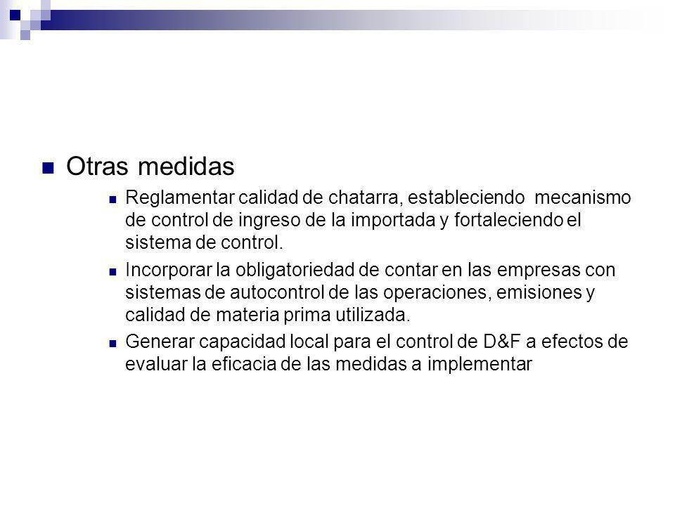 Otras medidas Reglamentar calidad de chatarra, estableciendo mecanismo de control de ingreso de la importada y fortaleciendo el sistema de control. In