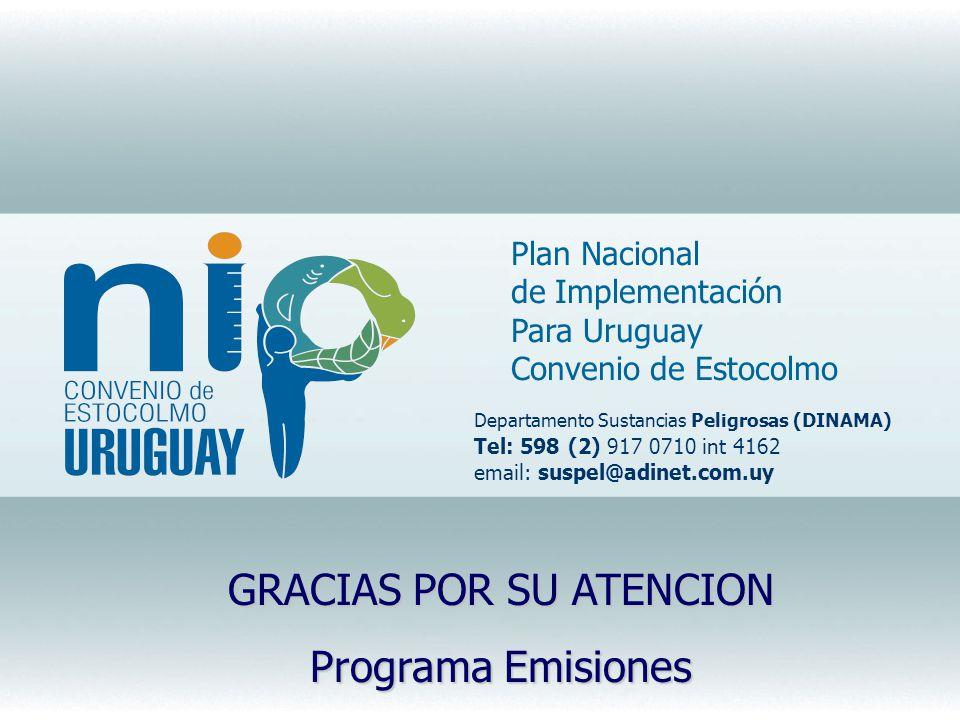 Plan Nacional de Implementación Para Uruguay Convenio de Estocolmo Departamento Sustancias Peligrosas (DINAMA) Tel: 598 (2) 917 0710 int 4162 email: s