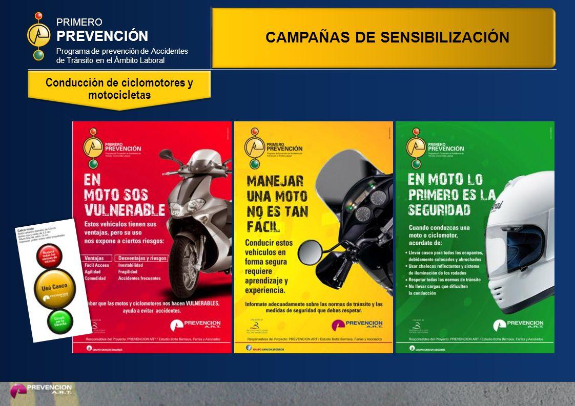 Programa de prevención de Accidentes de Tránsito en el Ámbito Laboral PRIMEROPREVENCIÓN Conducción de ciclomotores y motocicletas CAMPAÑAS DE SENSIBILIZACIÓN