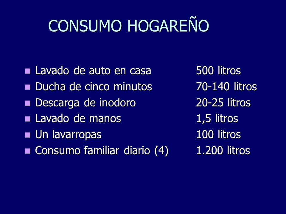 CONSUMO HOGAREÑO Lavado de auto en casa500 litros Lavado de auto en casa500 litros Ducha de cinco minutos70-140 litros Ducha de cinco minutos70-140 li