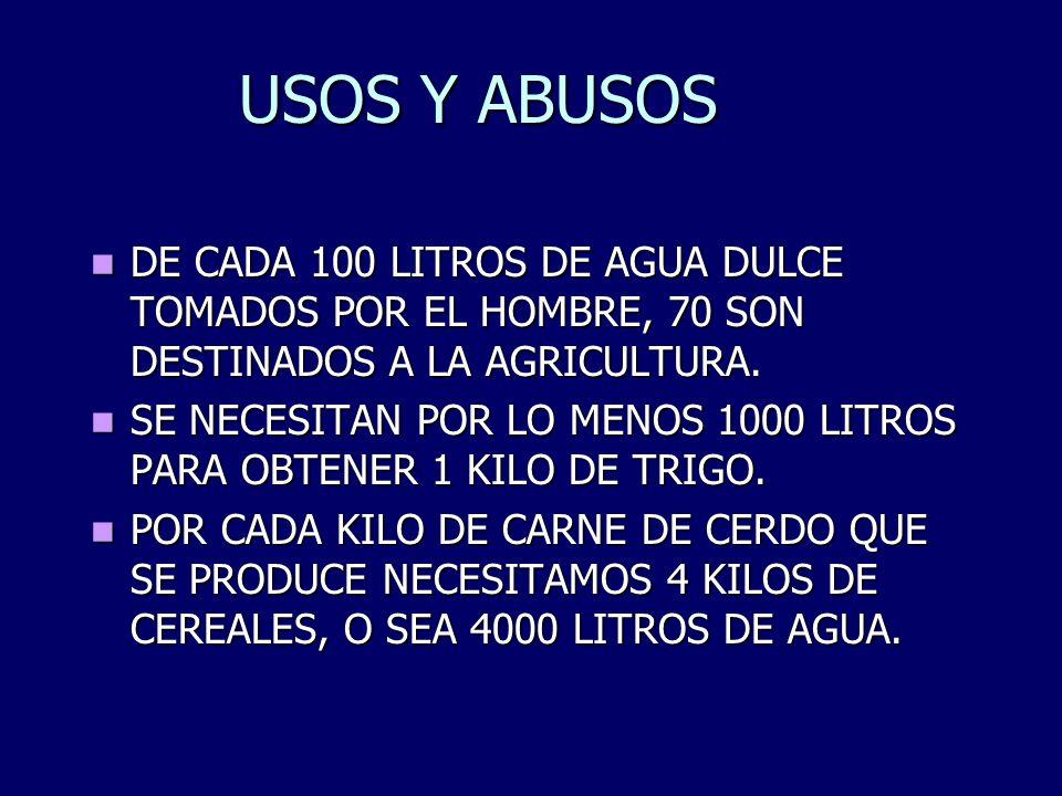 USOS Y ABUSOS DE CADA 100 LITROS DE AGUA DULCE TOMADOS POR EL HOMBRE, 70 SON DESTINADOS A LA AGRICULTURA. DE CADA 100 LITROS DE AGUA DULCE TOMADOS POR