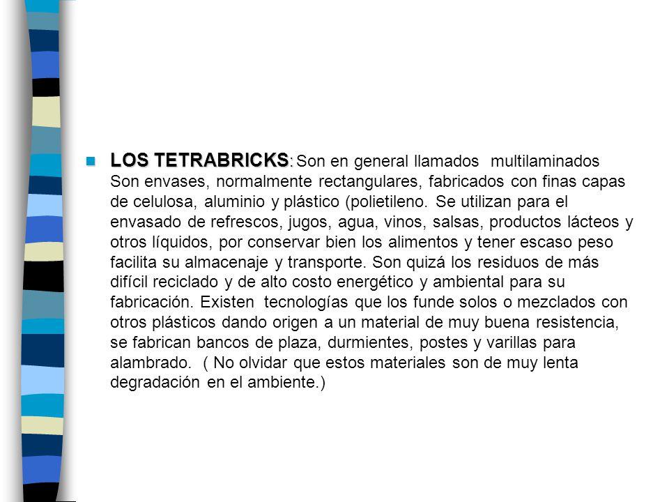LOS TETRABRICKS : LOS TETRABRICKS : Son en general llamados multilaminados Son envases, normalmente rectangulares, fabricados con finas capas de celul