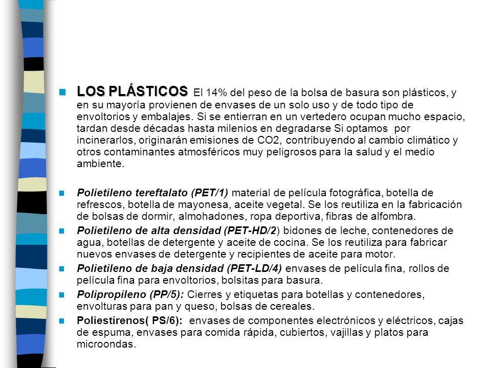 LOS PLÁSTICOS LOS PLÁSTICOS El 14% del peso de la bolsa de basura son plásticos, y en su mayoría provienen de envases de un solo uso y de todo tipo de