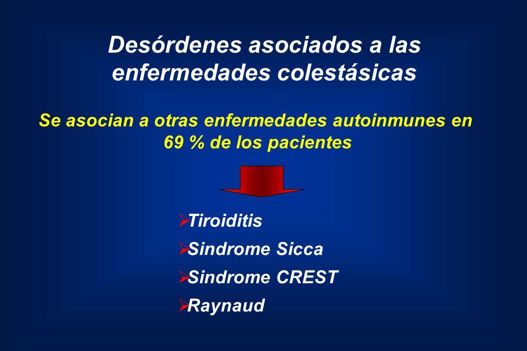 Desórdenes asociados a las enfermedades colestásicas Tiroiditis Sindrome Sicca Sindrome CREST Raynaud Se asocian a otras enfermedades autoinmunes en 6