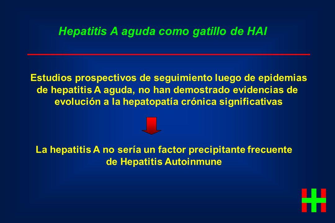 Estudios prospectivos de seguimiento luego de epidemias de hepatitis A aguda, no han demostrado evidencias de evolución a la hepatopatía crónica signi