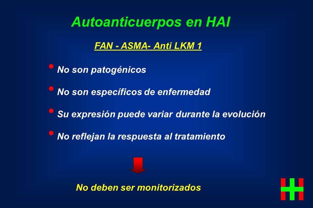 FAN - ASMA- Anti LKM 1 No son patogénicos No son específicos de enfermedad Su expresión puede variar durante la evolución No reflejan la respuesta al