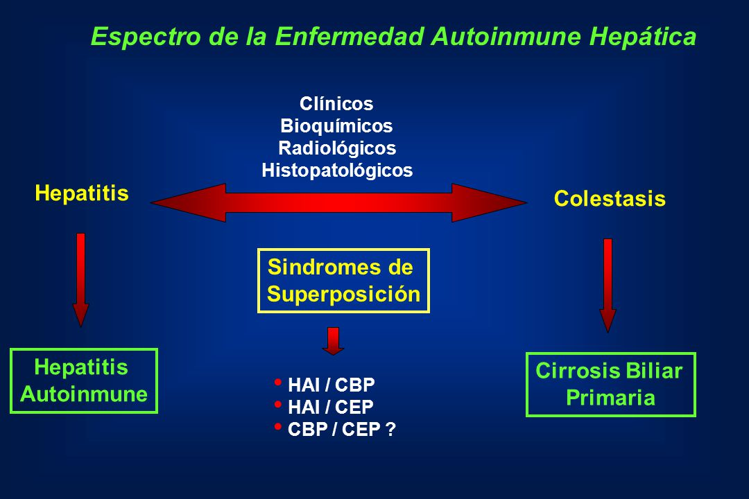 Factores pronósticos en Hepatitis Autoinmune Criterios Clinicos: Pacientes jóvenes Falta de respuesta a esteroides Formas fulminantes y subfulminantes Criterios Histologicos: Necrosis en puente