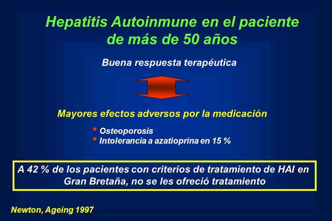 Hepatitis Autoinmune en el paciente de más de 50 años Buena respuesta terapéutica Mayores efectos adversos por la medicación Osteoporosis Intolerancia
