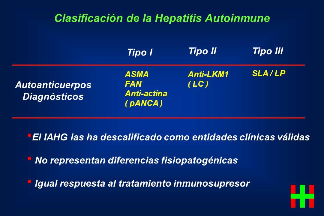 Clasificación de la Hepatitis Autoinmune Tipo I Tipo IITipo III Autoanticuerpos Diagnósticos ASMA FAN Anti-actina ( pANCA ) Anti-LKM1 ( LC ) SLA / LP