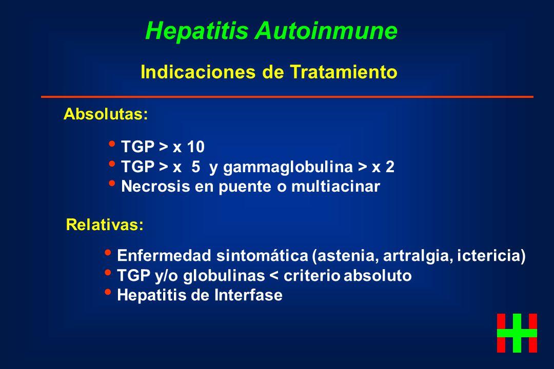 Hepatitis Autoinmune Indicaciones de Tratamiento Absolutas: TGP > x 10 TGP > x 5 y gammaglobulina > x 2 Necrosis en puente o multiacinar Relativas: En