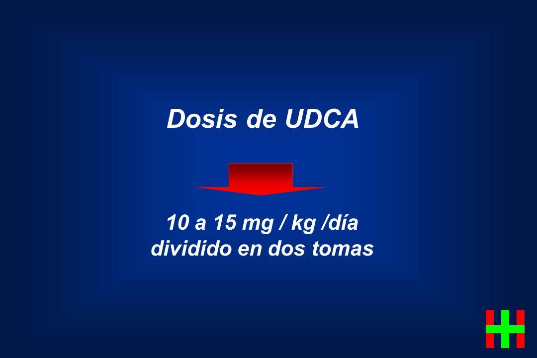 Dosis de UDCA 10 a 15 mg / kg /día dividido en dos tomas