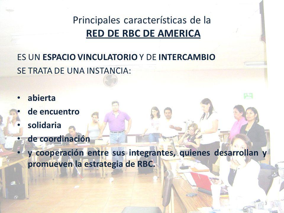 Fines de la RED DE RBC DE AMÉRICA Contribuir para que la RBC se posicione en América, como una estrategia para promover la inclusión social de las personas con discapacidad, y la mejora en su calidad de vida.