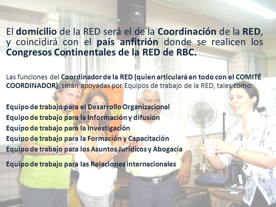 Responsabilidades del Comité Coordinador Promover la implementación de los Acuerdos de Funcionamiento de la RED y las resoluciones de las Asambleas, procurando el consenso y la unidad de los miembros de La RED.