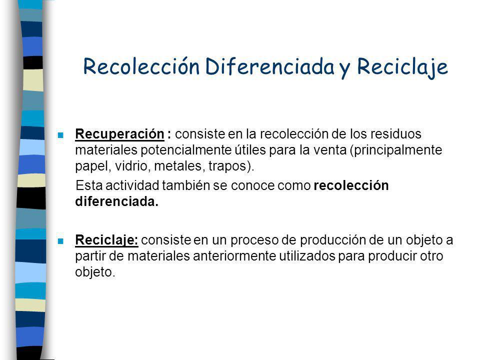 Recolección Diferenciada y Reciclaje n Recuperación : consiste en la recolección de los residuos materiales potencialmente útiles para la venta (principalmente papel, vidrio, metales, trapos).