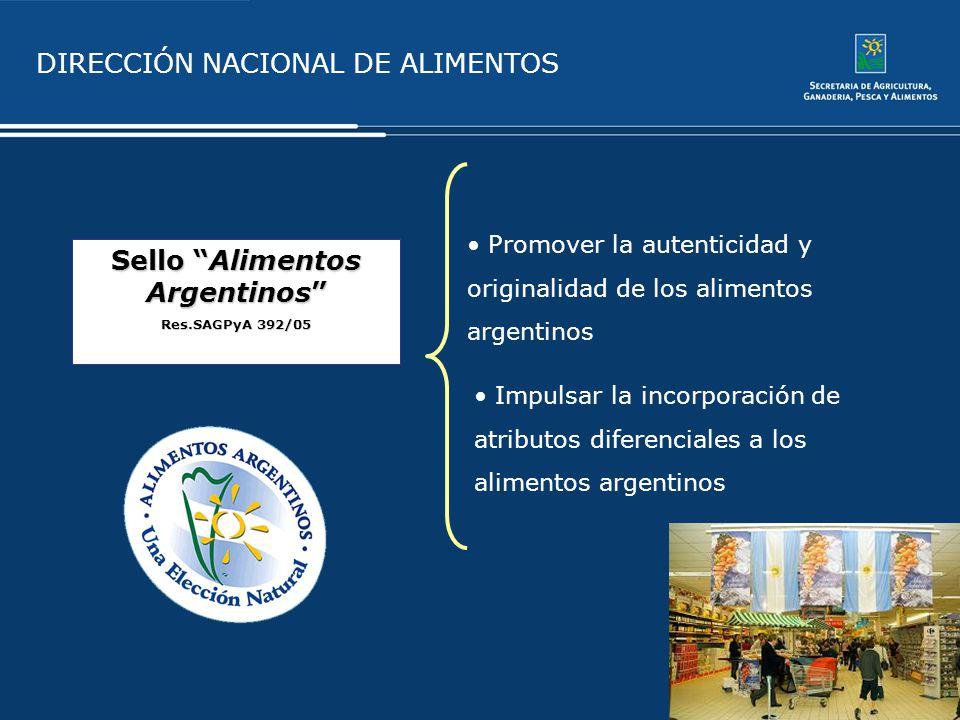 DIRECCIÓN NACIONAL DE ALIMENTOS Sello Alimentos Argentinos Res.SAGPyA 392/05 Promover la autenticidad y originalidad de los alimentos argentinos Impul