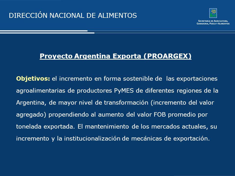DIRECCIÓN NACIONAL DE ALIMENTOS Proyecto Argentina Exporta (PROARGEX) Objetivos: el incremento en forma sostenible de las exportaciones agroalimentari