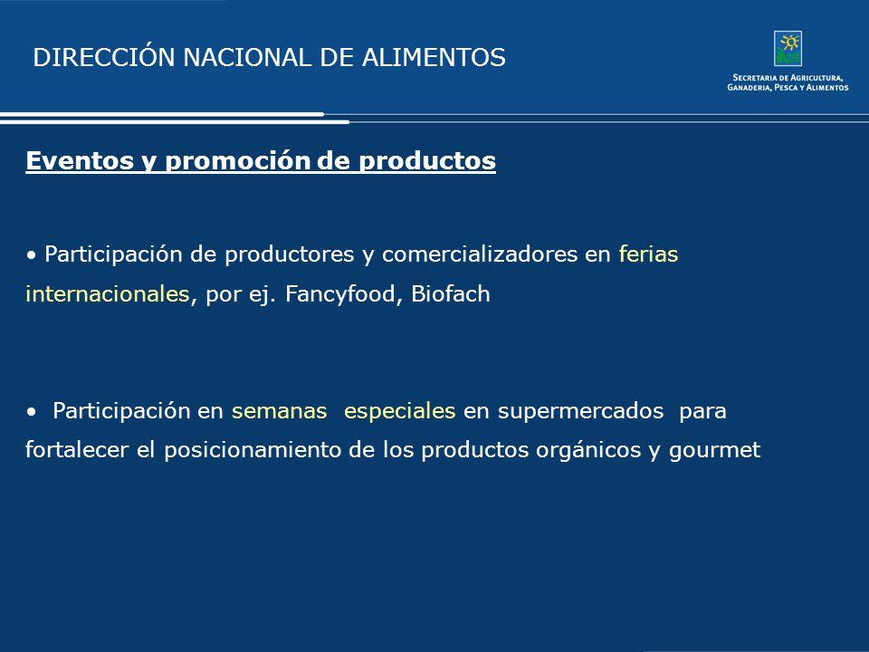 DIRECCIÓN NACIONAL DE ALIMENTOS Eventos y promoción de productos Participación de productores y comercializadores en ferias internacionales, por ej. F
