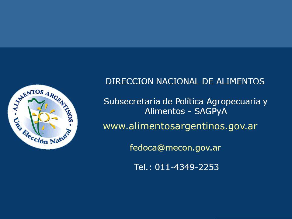 DIRECCIÓN NACIONAL DE ALIMENTOS DIRECCION NACIONAL DE ALIMENTOS Subsecretaría de Política Agropecuaria y Alimentos - SAGPyA www.alimentosargentinos.go