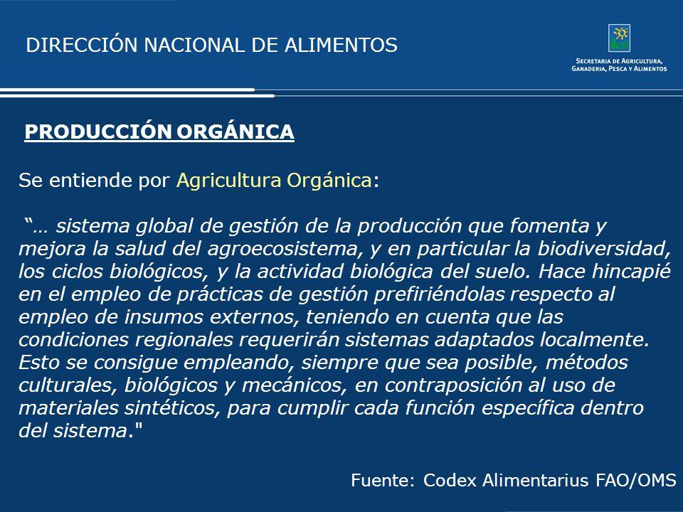 DIRECCIÓN NACIONAL DE ALIMENTOS Se entiende por Agricultura Orgánica: … sistema global de gestión de la producción que fomenta y mejora la salud del a