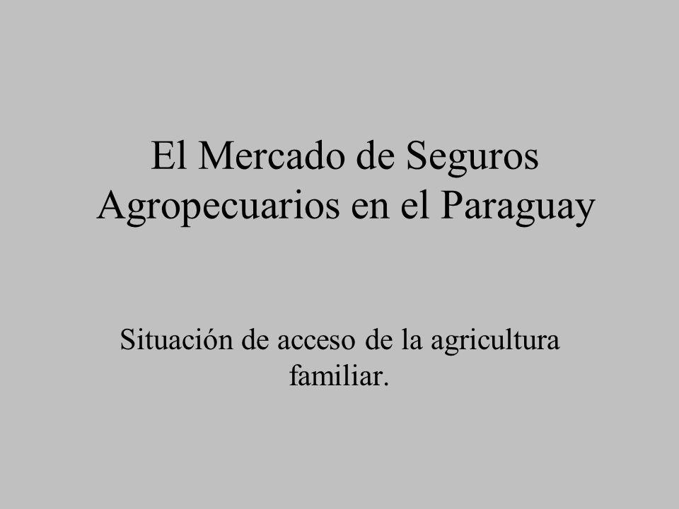 El Mercado de Seguros Agropecuarios en el Paraguay Situación de acceso de la agricultura familiar.