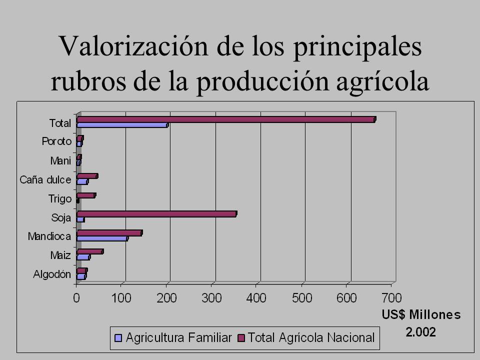 Valorización de los principales rubros de la producción agrícola